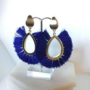 Cobalt Blue Fringe Earrings Large